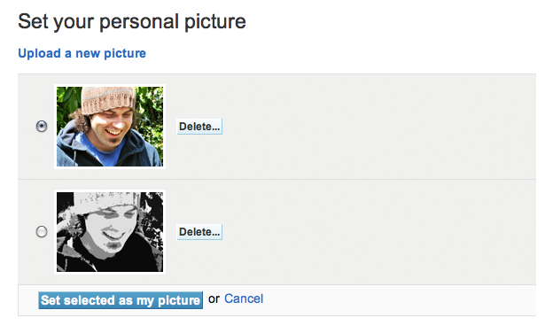 Example of selecting a personal picture