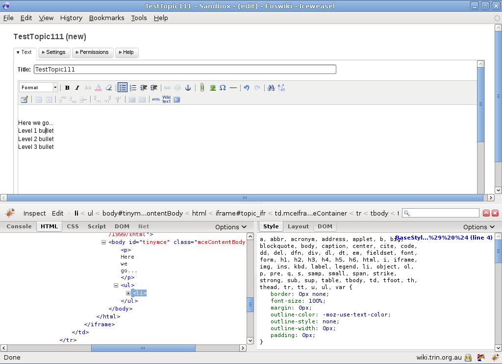 Item1987: Breaks TinyMCE CSS < Tasks < Foswiki